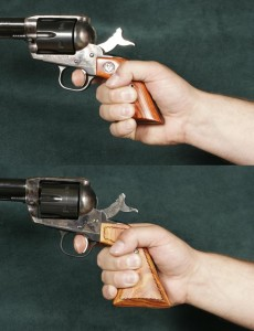 Comparison of Ruger Vaquero Grip (Top Image) and the Ruger Vaquero Extended Grip (Bottom Image)